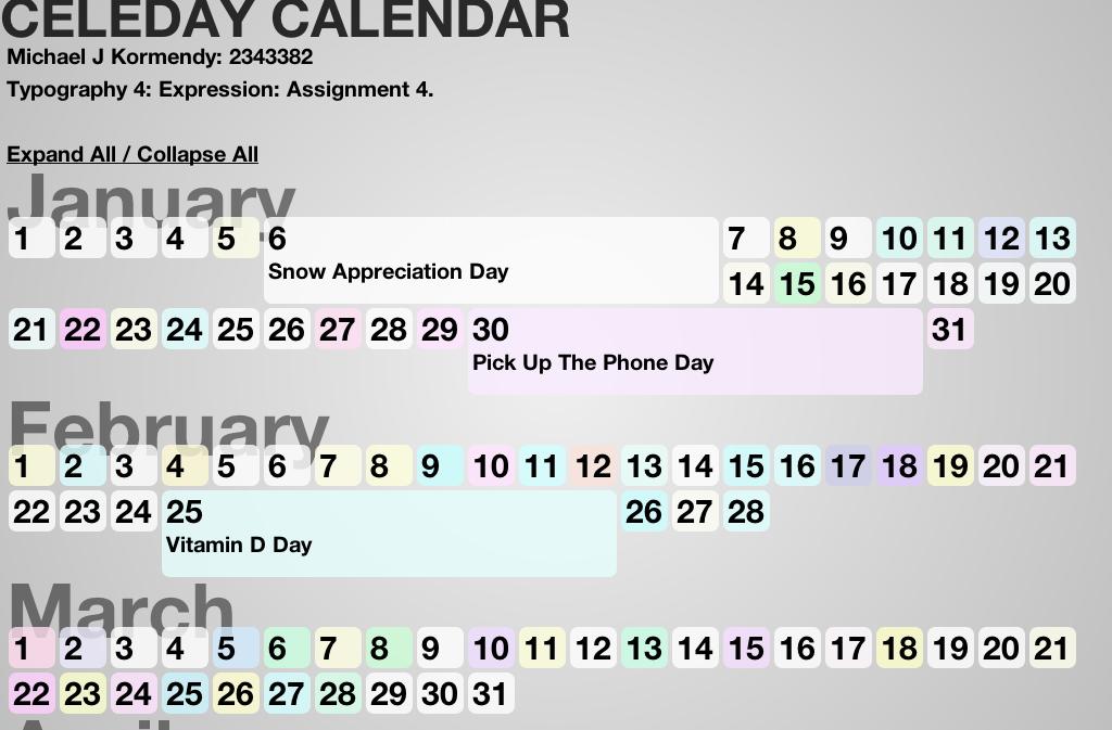 Celedays Calendar