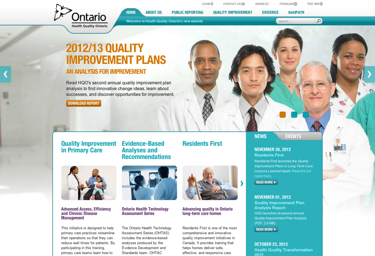 Welcome to Health Quality Ontario–a website by Mike Kormendy